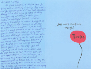 a thank you note from a patient to the doctors at pediatric ent associates