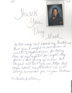 thank you note from a patient after a pediatric surgery
