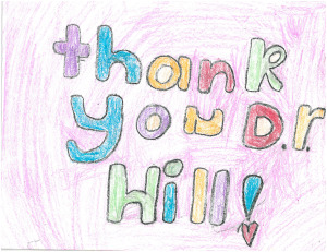 a thank note from a patient's family to the doctors at pediatric ent associate